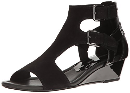 Donald J Pliner Women's Eden-ks26 Wedge Sandal, Black Kid Suede, 7 M US