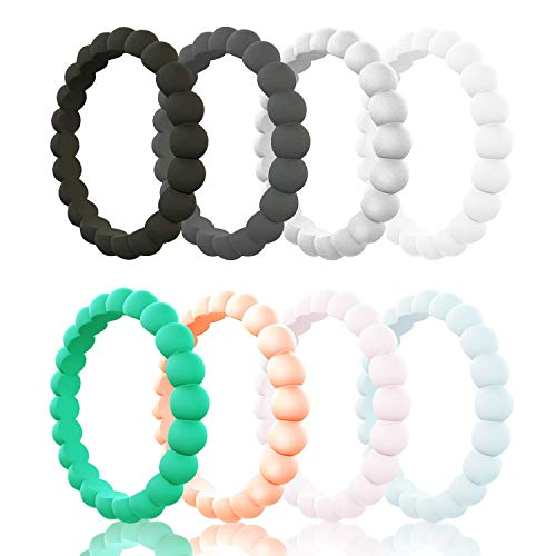 Egnaro Silicone Wedding Ring for Women, Stackable Braided Rubber Weeding Rings Bands fit Travel Sports Working - Size 4 5 6 7 8 9 ()