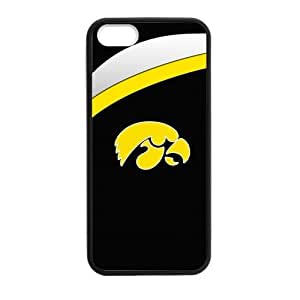 Generic Custom Best Design NCAA Iowa Hawkeyes Team Logo Plastic and TPU Black and White Case Cover for iPhone5 iPhone5S
