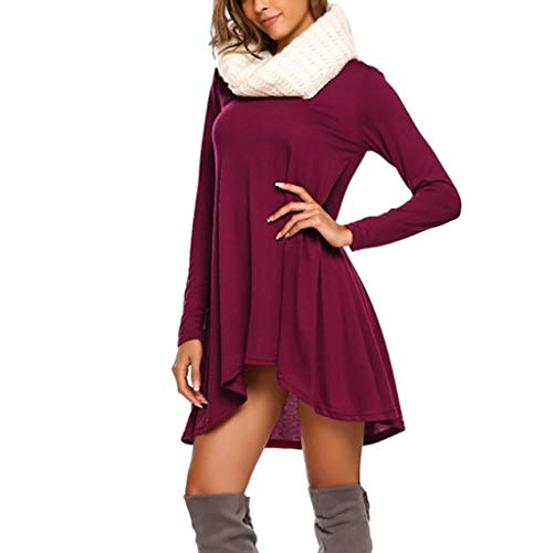 UOKNICE Dresses for Women, Spring Summer Casual Fashion Long Sleeve Loose V-Neck Solid Color Blouses Tops Dress Ruffle sexis 21st Photo Printed at BCBG Patterns Couture Mauve Over ()