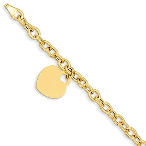 14k Yellow Gold Heart Charm Bracelet 7.5 Inch