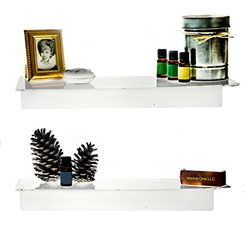 SOURCEONE.ORG Source One Deluxe 12, 16 & 24 Inch Clear Acrylic Floating Wall Mount Shelves, Sold in Sets of Two (24 - Clear Shelf 24 Inch