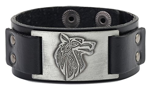 Vintage Nordic Fenrir Viking Wolf Scandinavian Talisman Cuff Leather Bracelet Men Jewelry (black wrisband and antique silver)