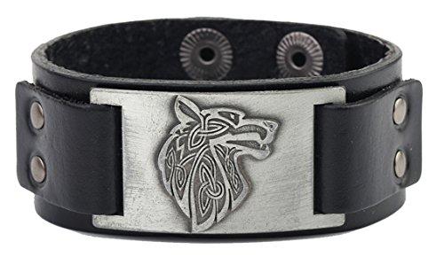 Viking Leather - Vintage Nordic Fenrir Viking Wolf Scandinavian Talisman Cuff Leather Bracelet Men Jewelry (black wrisband and antique silver)