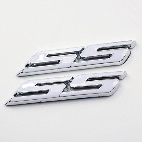(2 Pieces White Small Tilt SS Side Fender Trunk Emblem Badge Decal Sticker For Chevy Impala Cobalt Camaro 2010-2015)