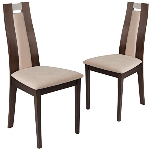 Flash Furniture 2 Pk. Quincy Espresso Finish Wood Dining Chair with Curved Slat Wood and Beige Fabric Seat (Contemporary Wood Finish Chair)