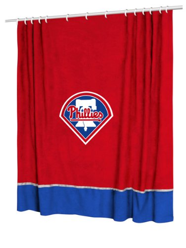 Philadelphia Phillies 4 Pc KING Comforter Set, 1 Matching Shower Curtain, and 1 Matching Window Valance/Drape Set - Entire Set Includes: (1 Comforter, 2 Shams, 1 Bedskirt, 1 Shower Curtain, 1 Matching Window Valance/Drape Set) SAVE BIG ON BUNDLING!