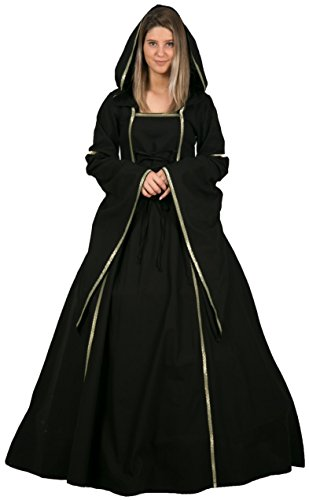 Calvina Costumes Mona Medieval Women Dress Made in Turkey, S-Black