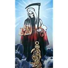 Holy Death Charm with Prayer Card in Spanish. Dije De La Santa Muerte Con Estampa Y Oracion En Español. (Holy Death)