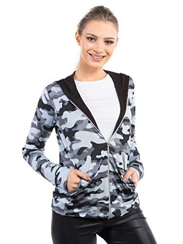 Jaqueta Camuflada Com Capuz Feminina Proteção Solar Extreme Uv