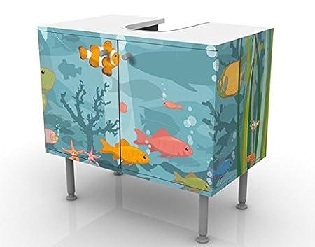 mobiletto da lavabo bagno bagnetto regolabile Larghezza: 60cm mobile da bagno mobiletto Mobile per lavabo design no.EK57 Underwater Landscape 60x55x35cm basso mobiletto da lavandino lavabo lavandino