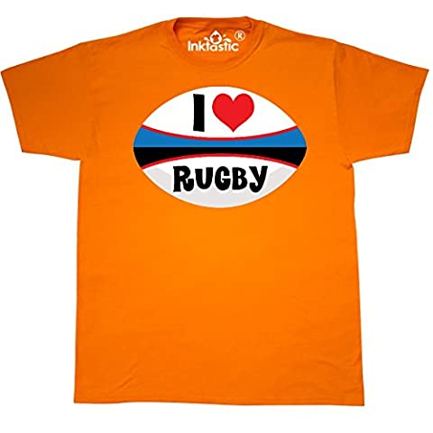 Inktastic - I Love Rugby sports ball T-Shirt Small Safety Orange - 761 Rugby