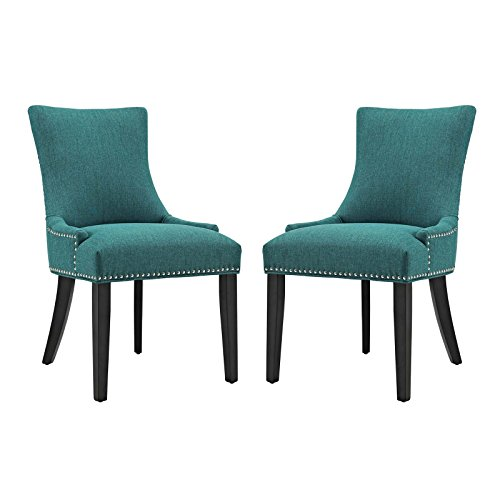 Modway Marquis Modern Elegant Upholstered Fabric Parsons Two Dining Side Chair Set With Nailhead Trim And Wood Legs In (Nailhead Trim Living Room)