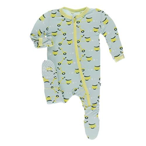 Kickee Pants Little Boys Print Footie with Zipper - Spring Sky Scooter, 2T