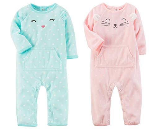 Carter's 2 Pack Baby Girls Footless Fleece Sleeper (6 Months, Mint Green Cat and Pink Mouse Face)