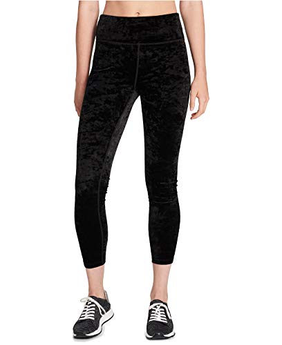 Calvin Klein Women's Crushed Velvet Cropped Leggings Black Large ()