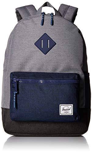 Herschel Kids' Heritage Youth Children's Backpack, Mid Grey Medieval Blue Black Crosshatch, One Size