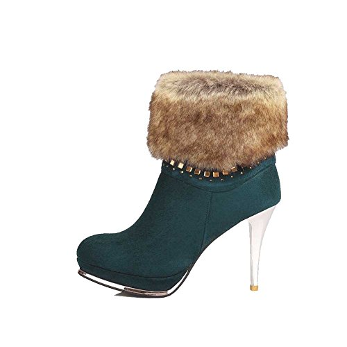 AgooLar Women's Round Closed Toe High-Heels Frosted Low-top Solid Boots Green 3tC3vUVv