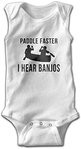 Blacaboer Shop Paddle Faster I Hear Banjos Sleeveless Bodysuit Onesies Unisex Baby's Climbing Clothes Bodysuits Romper Short Sleeved Light Onesies White