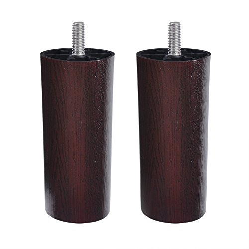 "4.9"" Replacement Furniture Legs, Cylinder Walnut Brown Contemporary Tapered Pyramid Plastic Sofa Legs, Couch Legs, Chair Legs and Bed Risers, Set of 2 Furniture Risers (Cylinder)"