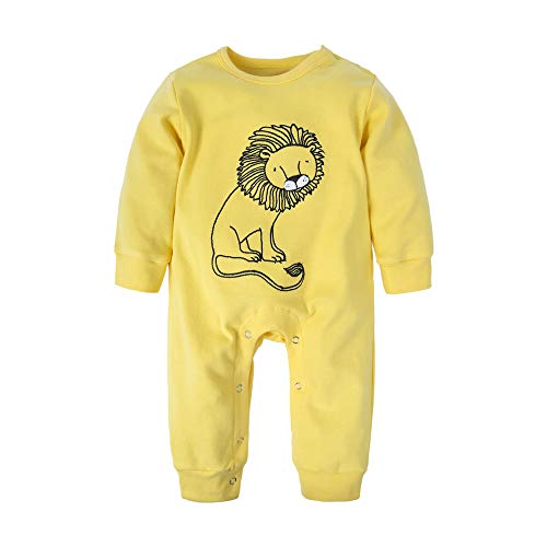 BIG ELEPHANT Baby Boys'1 Piece Lion Print Long Sleeve Romper Pajama Yellow L40-66 3-6 Months -