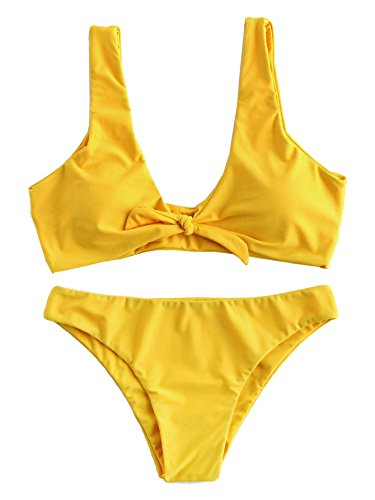 SweatyRocks Women's Sexy Bikini Swimsuit Tie Knot Front High Waist Swimwear Set Yellow XL