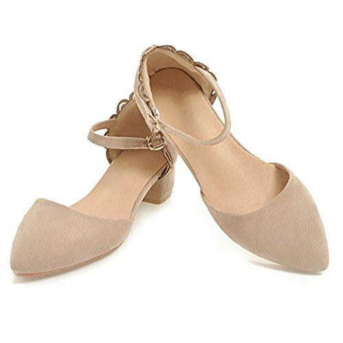 TAOFFEN Women Closed Toe Summer Sandals Apricot yibop