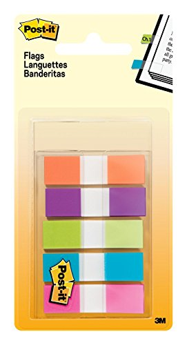 Post-it Flags 6835CB2 Page Flags in Portable Dispenser, 5 Bright Colors, 5 Dispensers, 20 Flags/Color (6835CBEU)