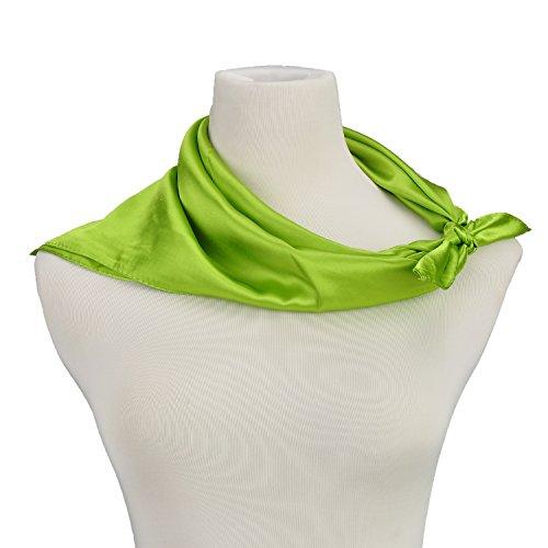 Women Neck Square Scarf Bank Clerk Airline Stewardess Satin Bandana Neckerchief Green]()