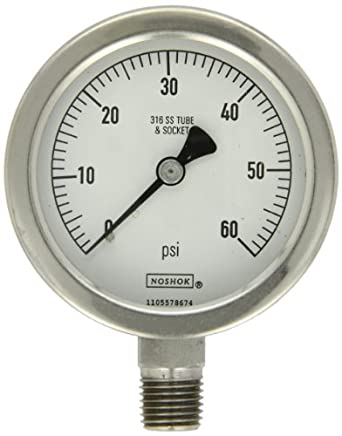 """NOSHOK 400 Series All Stainless Steel Dry Dial Indicating Pressure Gauge with Back Mount, 1-1/2"""" Dial, +/-2.5% Accuracy, 0-160 psi Pressure Range"""