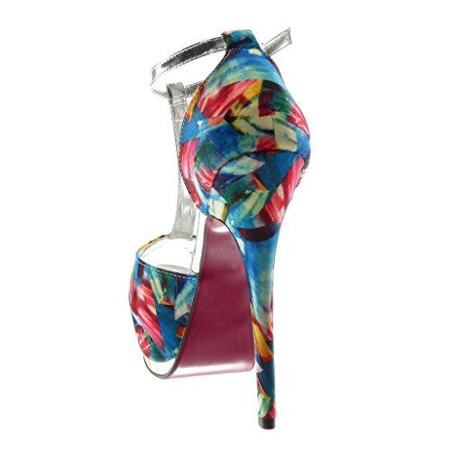 Angkorly Toe 5 Escarpin Plateforme Fantaisie 15 Brillant Mode Stiletto cm Talon Femme Haut Peep Chaussure Aiguille Flashy Bleu Sandale qAtrnfCq
