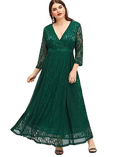 ESPRLIA Women's Plus Size High Waist Lace Overlay Evening Maxi Dress (Green, 16W)