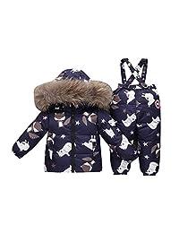 honuansortory Kid's Down Coat Toddler Snowsuit Hooded Down Jacket Baby Boys Girls Winter Thicken Overcoat