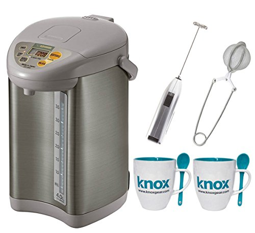 Zojirushi CD-JWC40 Micom Water Boiler & Warmer + Free Knox Mugs, Milk Frother and Tea Infuser