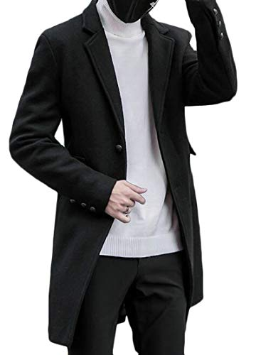 TTYLLMAO Mens Solid Wool Blend Single Breasted Trench Jacket Peacoat Black