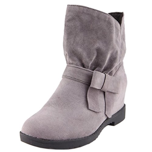 COOLCEPT Women Comfort Height Increased Ankle High Slouch Boots 235 Grey Ll3ub