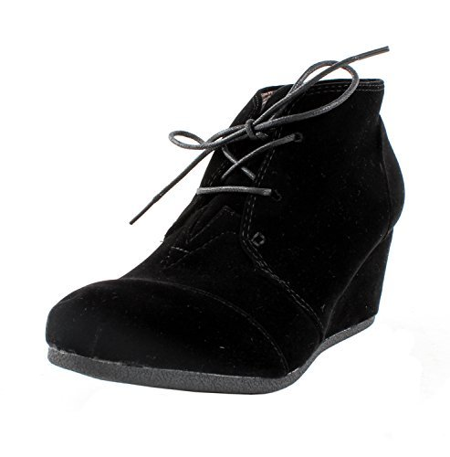 Top Moda Forever Link Womens Patricia-01 Lace Up Faux Suede Ankle Wedge Booties,10 B(M) US,Black
