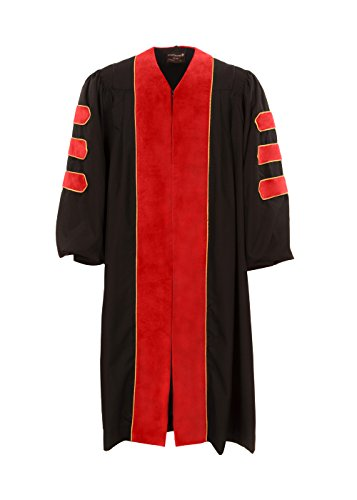 American Doctoral Gown (Black with Red Velvet + Gold Piping) (5'9 - 5'11) by Graduation Attire