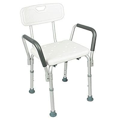 Shower Chair with Back by Vive - Bathtub Chair w/ Arms for Handicap, Disabled, Seniors & Elderly - Adjustable Medical Bath Seat Handles for Bariatrics - Non Slip Tub Safety