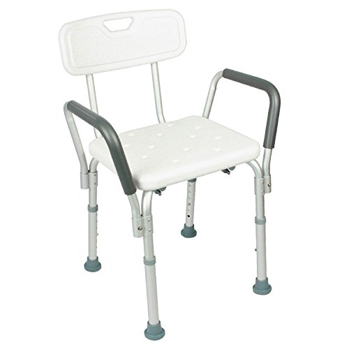 Shower Chair with Back by Vive - Bathtub Chair w/Arms for Handicap, Disabled, Seniors & Elderly - Adjustable Medical Bath Seat Handles for Bariatrics - Non Slip Tub Safety by VIVE