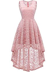 DRESSTELLS Women's Homecoming Dress V-Neck Floral Lace Hi-Lo Cocktail Party Dress