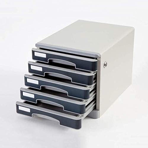ファイルキャビネットの 鋼板様々なストレージ複数のスタック滑り止めマットアッパー引き出し便利な引き出しPpのプラスチック35.8x27.5x26.2cm ファイリングキャビネット (Color : Grey)