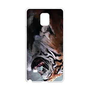 angry tiger painting Samsung Galaxy Note 4 Cell Phone Case White 53Go-171973
