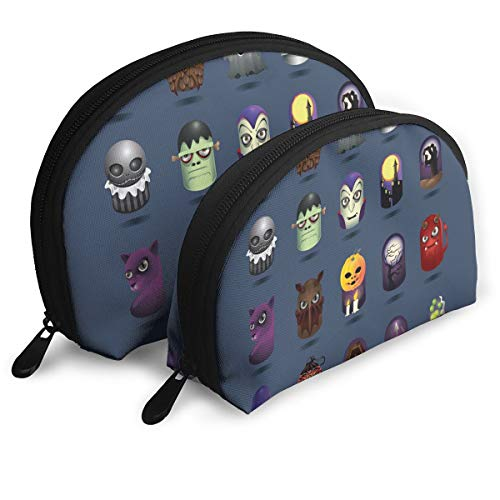 Pouch Zipper Toiletry Organizer Travel Makeup Clutch Bag Halloween Icons Set Portable Bags Clutch Pouch Storage Bags]()