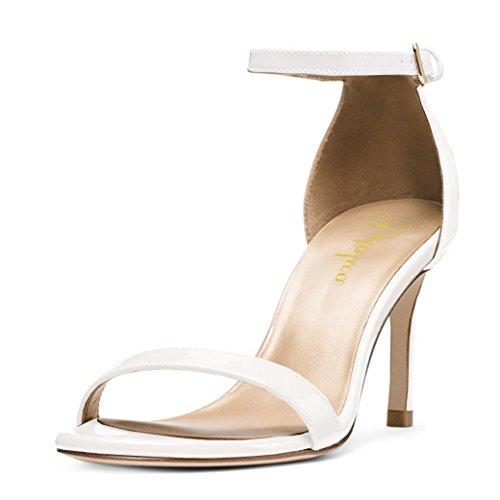 Mariage Blanc Brides Verni La de Talon 10 cm Sandales Fête Cheville À Stiletto Lutalica Chaussures Haut Femmes de D'été Boucle wqH6xU6p
