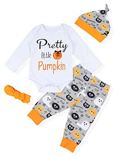 NewZhu Christmas Baby Boys Girls Rompers My 1st Halloween Long Sleeve Playsuit with Cutest Pants Hat Outfit Sets (12-18 Months) -