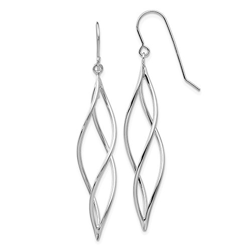 14k White Gold Long Twisted Drop Dangle Chandelier Earrings Fine Jewelry Gifts For Women For Her ()