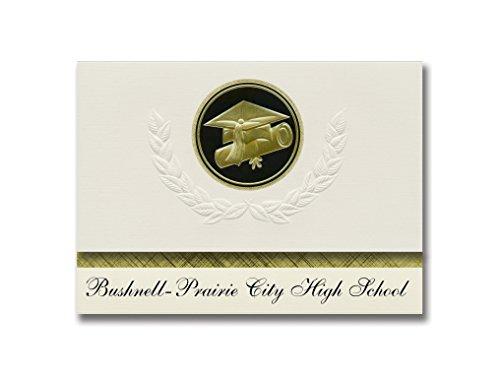 Signature Announcements Bushnell-Prairie City High School (Bushnell, IL) Graduation Announcements, Presidential Elite Pack 25 Cap & Diploma Seal. Black & Gold.