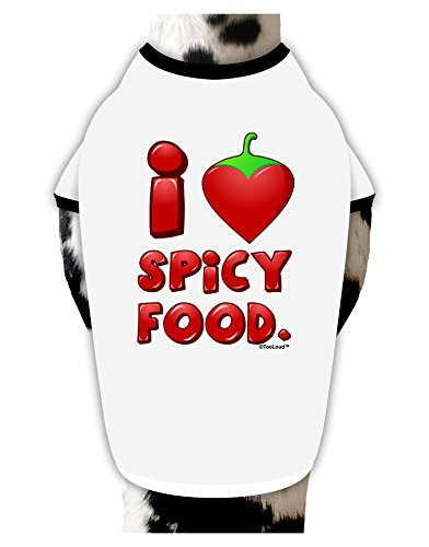 TooLoud I Heart Spicy Food Cotton Dog Shirt White with Black XL