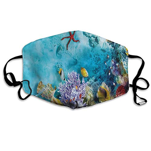 Exotic Coral Reef (Tropical and Exotic Coral Reefs Fish School Masks Dust Mask Anti Pollution Mask Can Be Washed Reusable Masks Cotton Mouth Mask for Men Women)